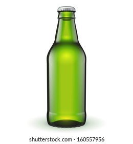 Short Glass Beer Green Bottle On White Background Isolated. Ready For Your Design. Product Packing. Vector EPS10