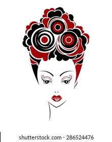 Short hair style icon, logo women face on white background, vector