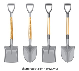 Short Handle Shovel and Spade is a three color illustration. Wooden handle and fiberglass handle included.
