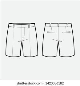 SHORT PANTS fashion flat sketch template
