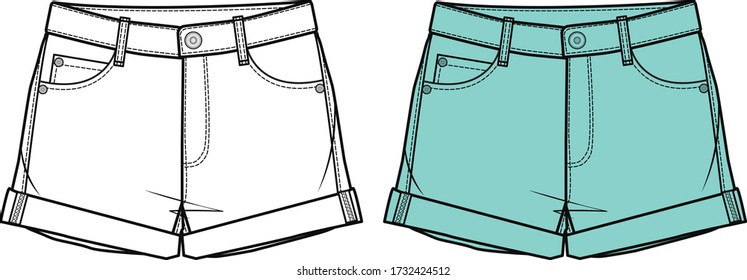 Short Pants, Fashion Flat Sketch Template, vector. Denim style classic short