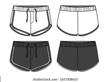 SHORT PANTS FLAT SKETCH TEMPLATE