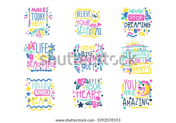 Short Possitive Messages Inspirational Quotes Colorful Stock Vector