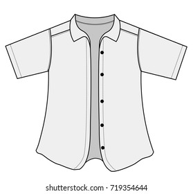 short sleeve button shirt illustration