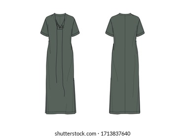 Short sleeve maxi dress with slits, flat sketch, front and back views