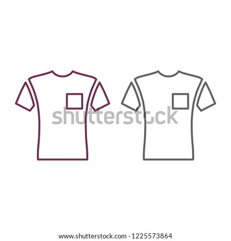 Short Sleeve Pocket T Shirt Front View Linear Style Vector Illustration Isolated On White