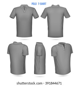Short sleeve Polo template, Mens. Front, Back, 3/4, side, 1/4.