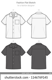 SHORT SLEEVE SHIRTS FASHION FLAT SKETCHES technical drawings teck pack Illustrator vector template