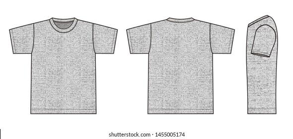 Short sleeve t-shirt illustration (heather gray) /front,back,side