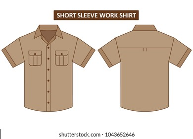 Short sleeve work shirt with two chest pocket template set back and front