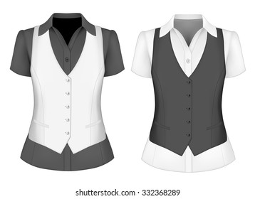 Short sleeved blouses for lady and waistcoat. Vector illustration.