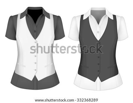 381d99d2e9a0e7 Short Sleeved Blouses Lady Waistcoat Vector Stock Vector (Royalty ...