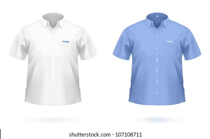 Short sleeved men's SHIRT in white & blue color. VECTOR illustration, created with attention to details.