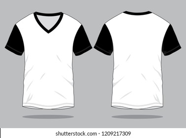 Short Sleeves V-Neck T-Shirt Design White-Black Vector.Front and Back View.