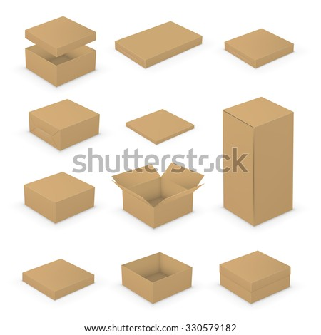 Short Small Open And Closed Boxes Template Collection Brown Packages On White Background Vector
