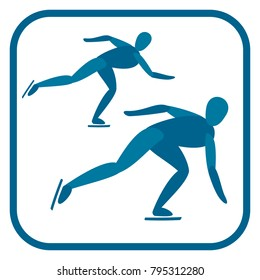 Short track speed skating emblem. Two color icon of the athlete.One of the pictogram from winter sports icons set. Vector illustration EPS-8.