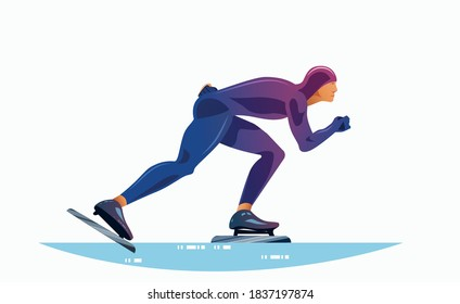 Short track speed skating. A muscular athlete in sportswear overcomes the distance on skates. Vector flat design illustration side view.