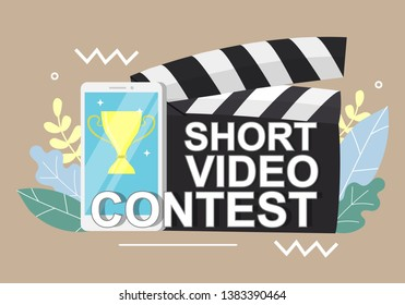 Short video contest announcement on clapperboard, smartphone with award cup on screen, vector flat illustration. Mobile short film competition concept for web banner, website page etc.