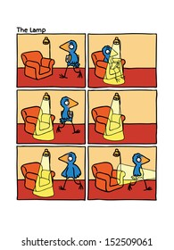 Short wordless comic story for children about smart blue bird, book, chair and lamp.