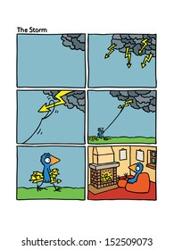 Short wordless comic story for children about smart blue bird, storm, flash and fireplace.