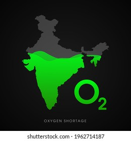 Shortage of oxygen during the second wave of coronavirus Covid-19 pandemic in India. Vector illustration