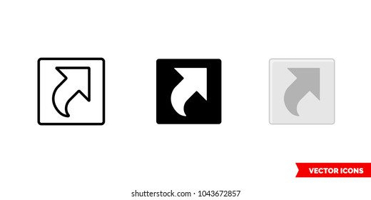 Shortcut icon of 3 types: color, black and white, outline. Isolated vector sign symbol.