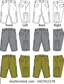 shorts cargo pattern vector template