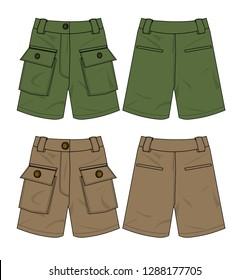 shorts cargo vector template