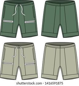 shorts cargo vector template for men