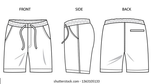 Shorts for men, three sides, front, side and back. vector template for design