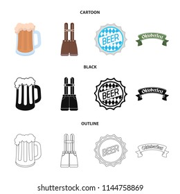 Shorts with suspenders, a glass of beer, a sign, an emblem. Oktoberfest set collection icons in cartoon,black,outline style vector symbol stock illustration web.