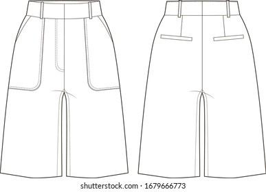Shorts women, fashion vector sketch
