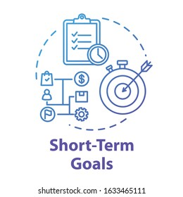 Short-term goals concept icon. Track progress. Making investment. Project check. Tracking performance. Productive management idea thin line illustration. Vector isolated outline RGB color drawing