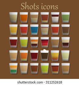 Shot alcohol icons