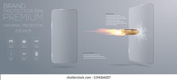 Shot a bullet in protective glass, a crack on glass. Screen Protector Glass. Vector illustration of transparent tempered glass shield for mobile phone
