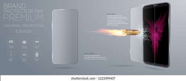 Shot a bullet in protective glass, a crack on glass. Vector screen protector film or glass cover isolated on grey background, mobile accessory.