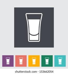 Shot drink. Single flat icon. Vector illustration.