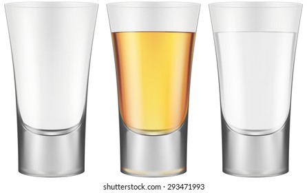 Shot glasses - empty, golden tequila and vodka. Vector illustration.