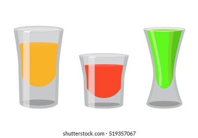 Shot glasses with golden tequila, rum, brandy, absent. Cocktail shots for bar, pub, restaurant. Flat vector style.