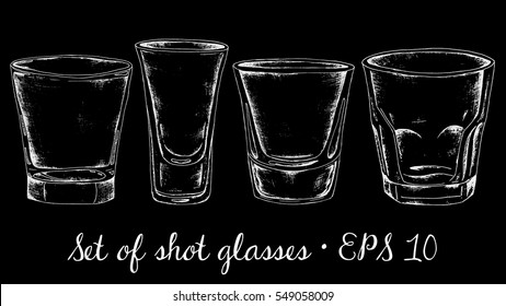 Shot glasses vector set. Vintage chalkboard style