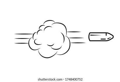 Shot from gun. Flying Bullet. Funny comic element. Cloud and smoke. Vector