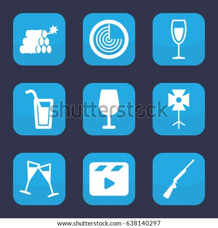 Shot Icon Set 9 Filled Shot Stock Vector (Royalty Free