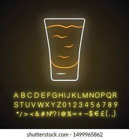 Shot neon light icon. Сocktail in glass. Alcoholic drink. Tumbler with shooter. Mix for fast consumption. Glowing sign with alphabet, numbers and symbols. Vector isolated illustration
