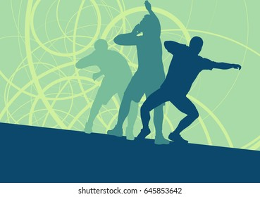 Shot put athlete track and field athletics vector background concept abstract background with man in motion different positions