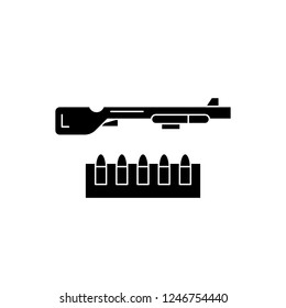 Shotgun and ammo black icon, vector sign on isolated background. Shotgun and ammo concept symbol, illustration