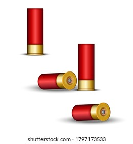 Shotgun cartridge for hunting and skeet shooting, shotgun shells red case with capsule, realistic 3d vector model isolated on white