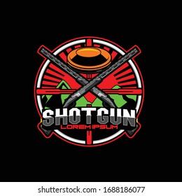 Shotgun with clay pigeon shooting vector logo template