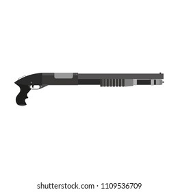 Shotgun military vector rifle violence. Gun crime isolated closeup icon. Game handgun symbols combat elements. Army carbine hunting silhouette cartoon. Wood vintage ammo equipment. Duck sport.