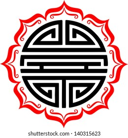Shou Symbol, Lotus - chinese character for longevity & good health