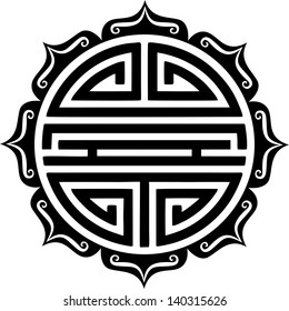 Shou Symbol, Lotus - chinese character for longevity & good health